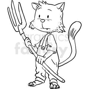cat farmer vector outline clipart. Royalty-free image # 410530