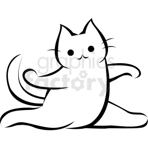 black and white cartoon cat doing yoga sideward pose vector clipart. Commercial use image # 410645