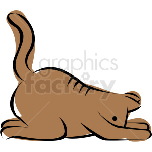 cartoon cat doing yoga child pose vector clipart. Commercial use image # 410662