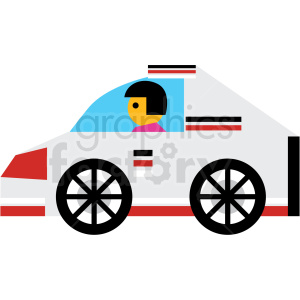 cartoon white race car vector icon clipart. Royalty-free image # 410682