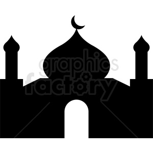 black and white mosque vector clipart. Royalty-free image # 410729