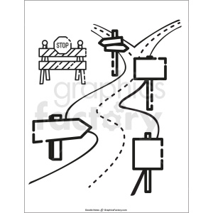 road doodle note printable page clipart. Commercial use image # 411183