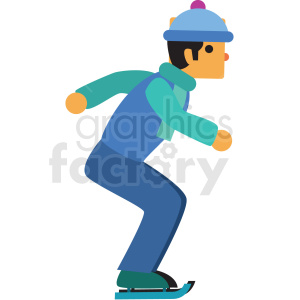 man ice skating flat vector icon clipart. Royalty-free image # 411263