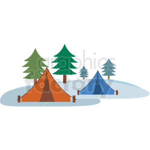 winter camping flat vector icon clipart. Royalty-free icon # 411273