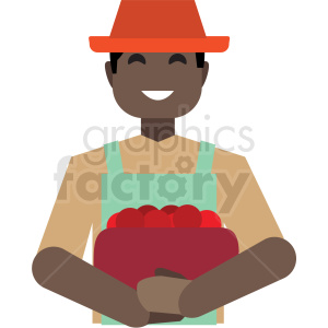 black farmer flat icon vector icon clipart. Royalty-free image # 411291