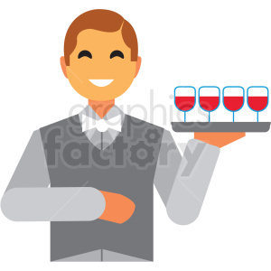 waiter flat icon vector icon clipart. Royalty-free image # 411295