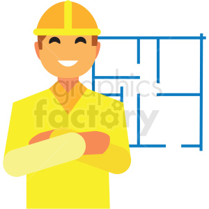 construction worker flat icon vector icon clipart. Royalty-free image # 411327
