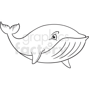 black white cartoon whale clipart
