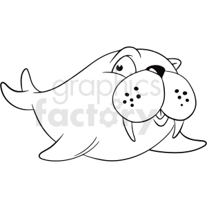 black white cartoon walrus vector clipart clipart. Commercial use image # 411443