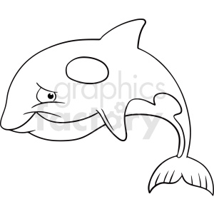 black white cartoon dolphin vector clipart clipart. Royalty-free image # 411447