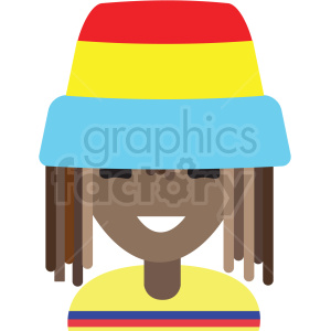 rasta man avatar icon vector clipart