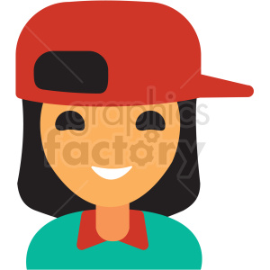 female wearing baseball hat avatar icon vector clipart clipart. Commercial use icon # 411527