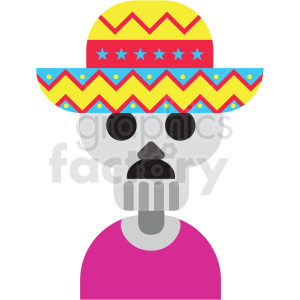 day of the dead skeleton wearing sombrero vector clipart clipart. Royalty-free image # 411640