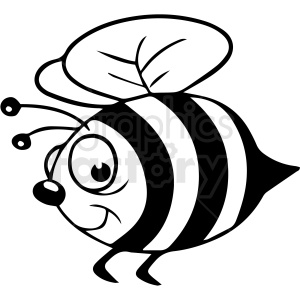 cartoon bee black white vector clipart clipart. Commercial use image # 411660