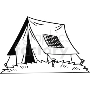 black and white cartoon tent vector clipart