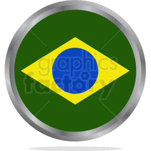 Brazil flag button vector clipart. Commercial use image # 412205