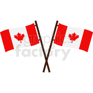 crossed Canadian flag icon clipart. Royalty-free image # 412344