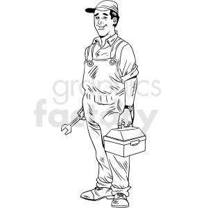 black and white retro plumber guy vector clipart clipart. Royalty-free image # 412468