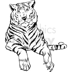 black and white tiger vector illustration clipart. Commercial use image # 412591