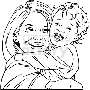 black and white mom hugging small child vector clipart clipart. Commercial use image # 412703
