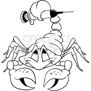black and white cartoon scorpion vector clipart clipart. Royalty-free image # 412717