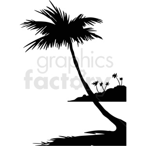 palm tree beach silhouette vector clipart