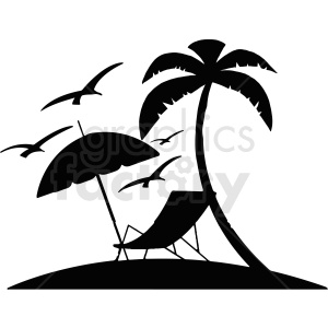 island with lougne chair silhouette vector clipart clipart. Commercial use image # 412727