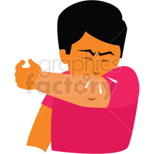 sick person coughing into arm vector clipart clipart. Commercial use image # 412740