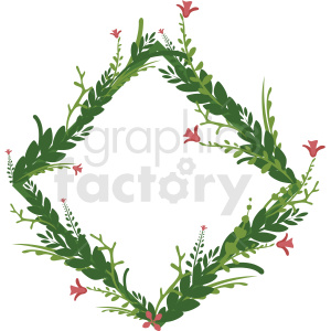 diamond shaped full floral frame vector clipart clipart. Royalty-free image # 412767