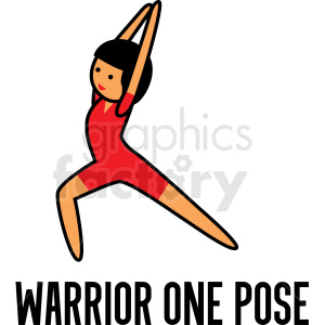 girl doing yoga warrior one pose vector clipart clipart. Royalty-free image # 412805