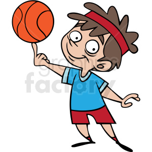 cartoon child playing basketball vector clipart. Royalty-free image # 412855