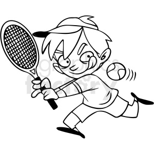 black and white cartoon child playing tennis vector clipart. Commercial use image # 412857