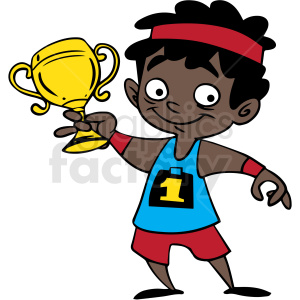 african american cartoon child holding trophy vector clipart. Commercial use image # 412860
