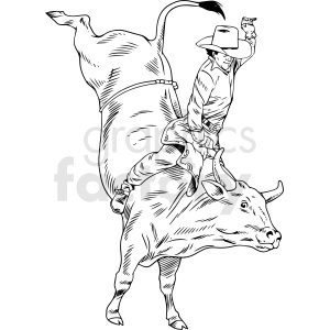 clipart - black and white bull riding vector illustration.