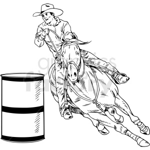 black and white western rodeo vector illustration clipart. Commercial use image # 412901