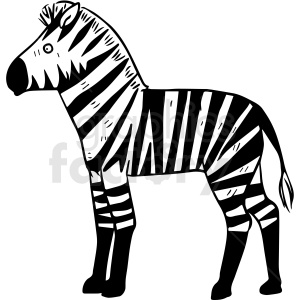 black and white zebra vector clipart clipart. Commercial use image # 412920