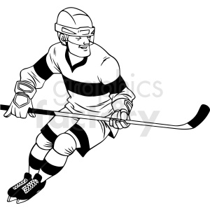 black and white hockey player skating clipart clipart. Royalty-free image # 412950