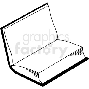 black and white open book vector