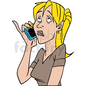 cartoon woman talking on phone vector clipart clipart. Royalty-free image # 413101