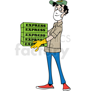 cartoon pizza delivery guy wearing mask vector clipart clipart. Royalty-free image # 413166