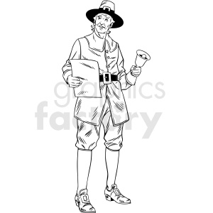 black and white realistic male pilgrim holding paper vector clipart