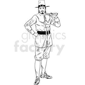 black and white realistic male pilgrim holding pistol vector clipart clipart. Commercial use image # 413177