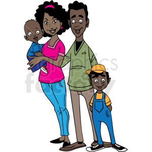 african american family cartoon vector clipart clipart. Commercial use image # 413188