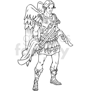 black and white angel of peace vector clipart