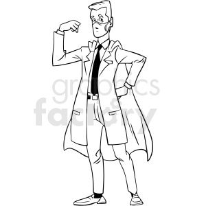 black and white cartoon doctor wearing hero cape vector clipart clipart. Commercial use image # 413234