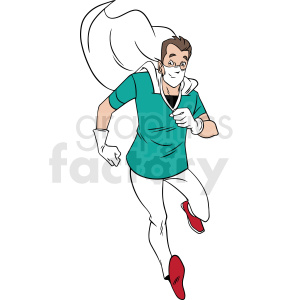 cartoon doctor hero running to rescue vector clipart clipart. Commercial use image # 413259
