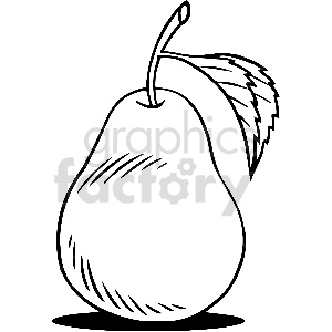 black and white pear fruit vector clipart clipart. Commercial use image # 413300
