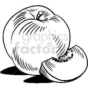 black and white peach slice vector clipart clipart. Commercial use image # 413304