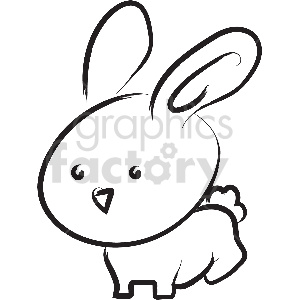 black and white bunny vector clipart clipart. Commercial use image # 413364