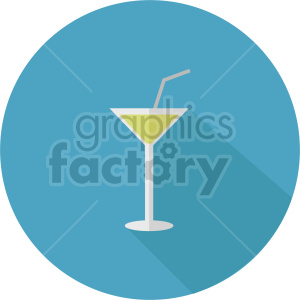 cocktail on blue circle background vector